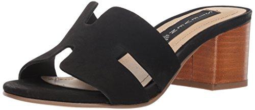 (STEVEN by Steve Madden Women's FOREVA Heeled Sandal, Black Nubuck, 7.5 M)