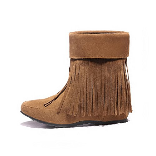 Heels Round Closed Toe Women's Mid Brown Pull On Low AgooLar Boots Top Frosted IwFaq8BWO