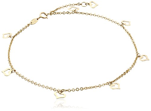 "14k Yellow Gold Flat Heart Charms Rolo Chain Adjustable Anklet, 9"" + 1"" Extender"