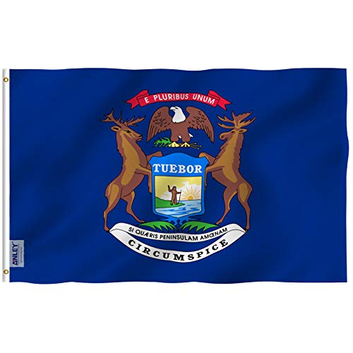 (Anley Fly Breeze 3x5 Foot Michigan State Flag - Vivid Color and UV Fade Resistant - Canvas Header and Double Stitched - Mich. MI Flags Polyester with Brass Grommets 3 X 5 Ft)