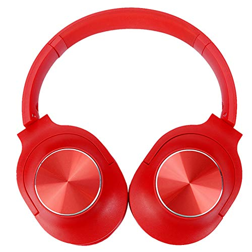 ACBAZEFA Wireless Card Bluetooth Headset Bilateral Stereo Head-Mounted Folding Simple Fashion Headphones,Red