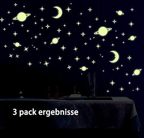 3-Pack My lifestyle Detachable DIY Creative Night Luminous Stars Moon Glow in the Dark Fluorescent Wall Sticker Walltattoo (Night Sky In My Room)