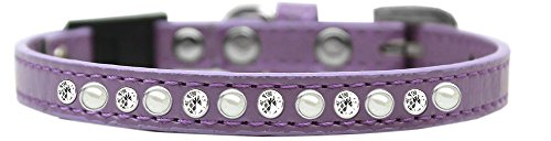 Mirage Pet Products 625-3 LPK12 Pearl and Clear Jewel Breakaway Cat Collar Light Pink, Size 12
