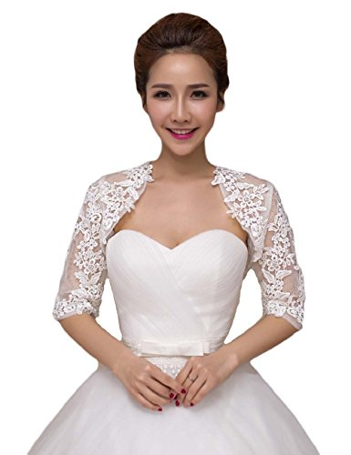 2016 Women's Lace Half Sleeves Wedding Shrug Bridal Bolero Jackets Shawl Ivory