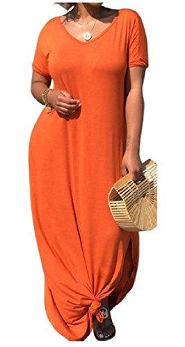 donne Nightclub Puro Spaccato Scollo Chic Tasche V Morbide Vestito Colore Sciolto Arancione A Coolred Fqdgq
