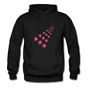 For Women Cotton Black Designed Off-the-record Stylish Flowers Sweatshirts X-large