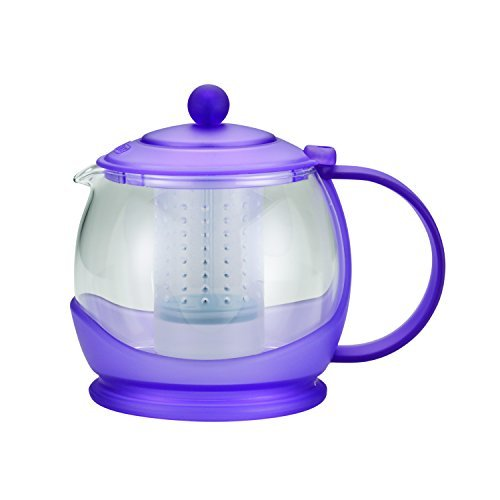 BonJour Tea Prosperity Borosilicate Glass Teapot with Plastic Frame, 42-Ounce, French Lavender by BonJour
