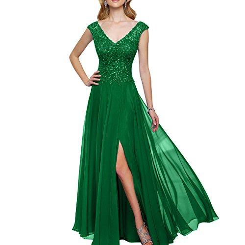 V Abschlussballkleider Grün Damen Abendkleider Promkleider mia Spitze Langes Brautmutterkleider Partykleider La Brau Ausschnitt 7q8vwFvH