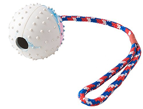 Dog Rubber Toy Ball with Chew Rope for Small to Medium (Super Tug Rubber Toy)