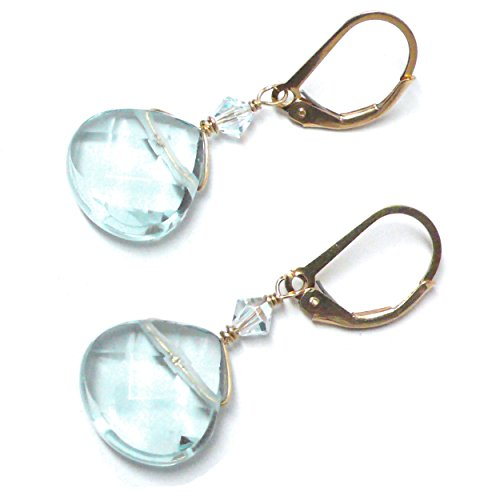Lab Grown Aqua Quartz 12x12 Briolette Lever Back Earrings Swarovski Crystal Gold-Filled