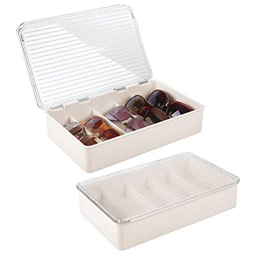 mDesign Plastic Rectangular Stackable Eye Glass Storage Organizer Holder Box for Sunglasses, Reading Glasses, Fashion Eye Wear, Accessories - 5 Sections, Hinged Lid, 2 Pack - Cream/Clear
