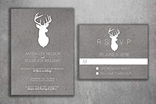 Deer Wedding Invitations Set, Rustic Wedding Invitation, Country Wedding Invitation, Kraft, Affordable, Woods, Deer Rack, Buck, Hunting