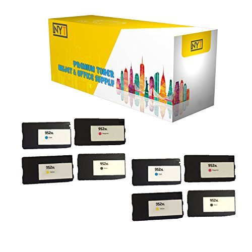 New York Toner New Compatible 8 Pack F6U19AN L0S61AN L0S64AN L0S67AN 952XL BK C M Y High Yield Inkjet For HP OfficeJet Pro 7740, 8200, 8210, 8216 . -- Black Cyan Magenta Yellow by New York Toner