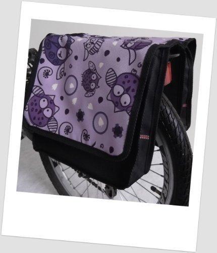 T-JOY-30 Fahrradtasche JOY OWL 3 Eule Lila Flieder Kinderfahrradtasche Satteltasche Gepäckträgertasche 2 x 5 Liter KINDER