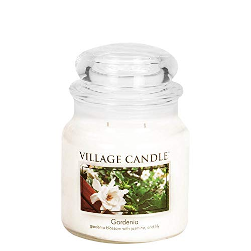Village Candle Gardenia 16 oz Glass Jar Scented Candle, Medium
