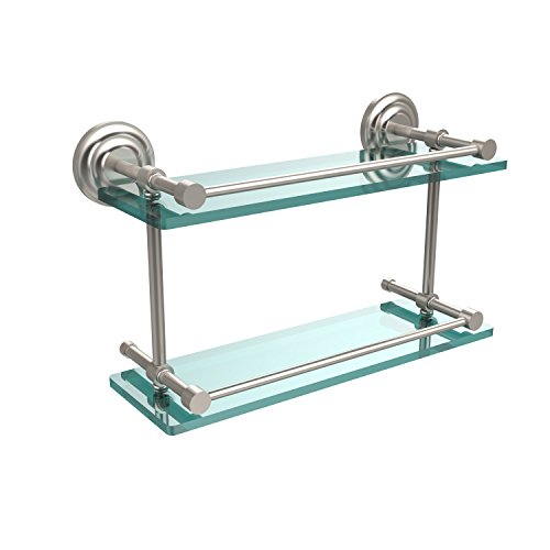 Allied Brass QN-2/16-GAL-SN Que New 16-Inch Double Glass Shelf with Gallery Rail, Satin Nickel