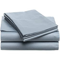 Pinzon Hemstitch 400-Thread-Count Egyptian Cotton Sateen Sheet Set, Queen, Smokey Blue