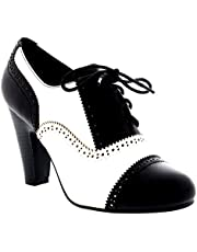 Womens medio blok hak Lace Up avond werk Mary Jane enkellaars schoenen