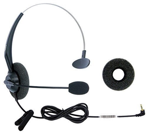 DailyHeadset 2.5mm Jack Hands Free Headset Over Ear Headphones for Cordless Home Phones Corded Landline Telephones