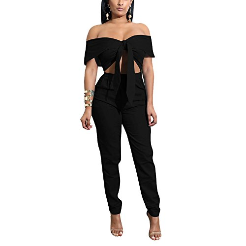 - Metup 2 Piece Outfits for Women Tie Knot Off The Shoulder Crop Top Casual Long Pants Set Clubwear Black S