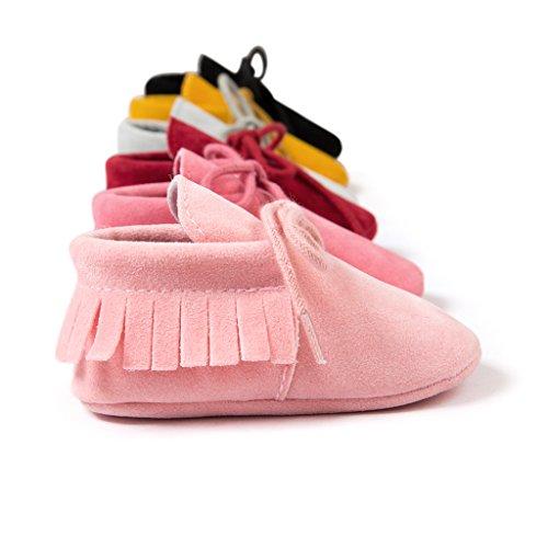 Top-Sell Niños Infantes Borlas Decoración Zapatos De Bebé Anti Slip Soft Sole Prewalker Rosa