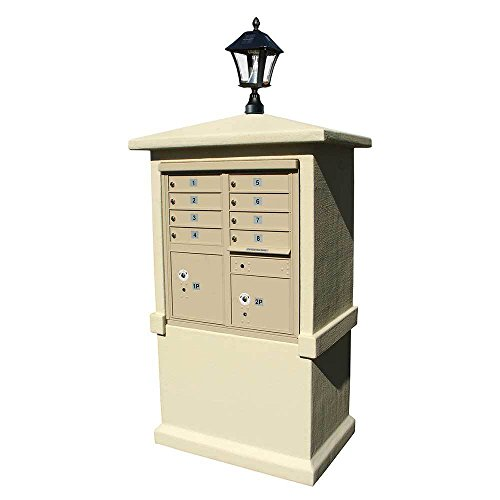 Qualarc EVMC-TALL-SS-SL Eastview Stucco CBU Mailbox Center Column, Tall Pedestal with Bayview Solar Lamp, Sandstone Color (Bayview Solar Lamp)