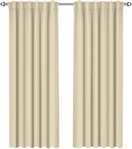 Utopia Bedding Blackout Room Darkening and Thermal Insulating Window Curtains/Panels/Drapes - 2 Panels Set - 7 Back Loops per Panel - 2 Tie Backs Included (Beige, 52 x 84) (Thermal Curtain)