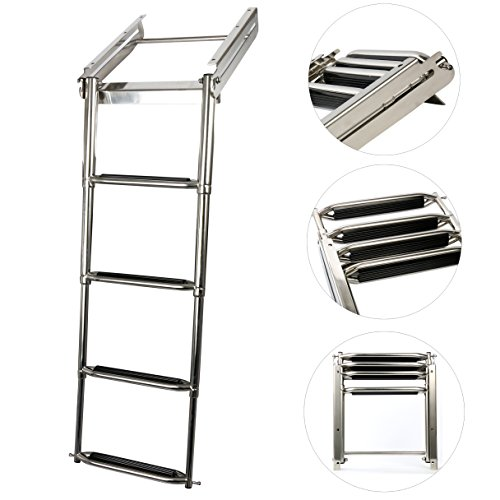 Amarine-made 4-step Under Platform Slide Mount Boat Boarding Ladder, Telescoping, Stainless (Under Platform Ladder)