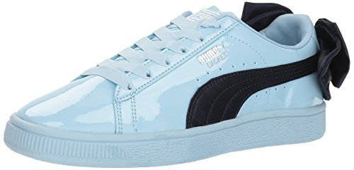 - PUMA unisex-baby Basket Bow Patent Kids Sneaker, Cerulean-Peacoat, 9 M US Toddler