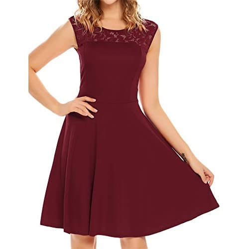 Hot Elesol Women's Elegant Lace A-Line Sleeveless Pleated Cocktail Party Dress Burgundy S for sale