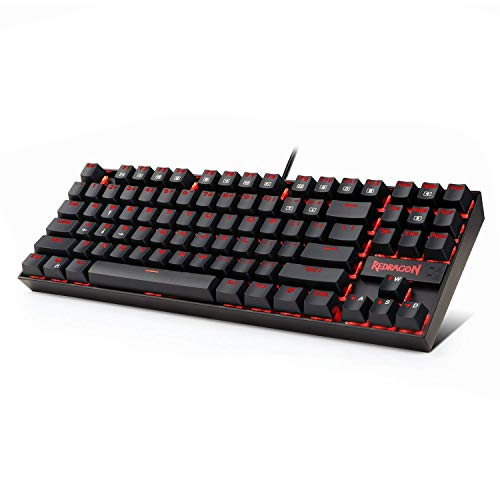 Redragon K552 Mechanical Gaming Keyboard Compact 87 Key Mechanical Computer Keyboard KUMARA USB Wired Cherry MX Blue Equivalent Switches for Windows PC Gamers (Black RED LED Backlit)