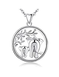 AEONSLOVE 925 Sterling Silver Lucky Elephant Tree of Life Forever Love Pendant Ship Anchor Celtic Knot Elephant 18'' Necklace, Gift for Women Mom Girls