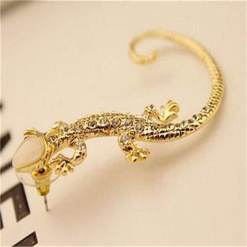 (1pc Women Lady Golden Plated Rhinestone Cystal Lizard Earring Stud Cuff)