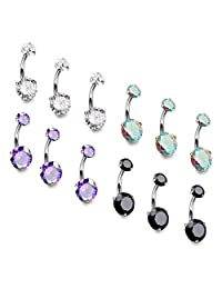 Subiceto 8-12 Pcs 14G Belly Button Rings Surgical Steel CZ Navel Ring Set for Women Body Jewelry Piercing