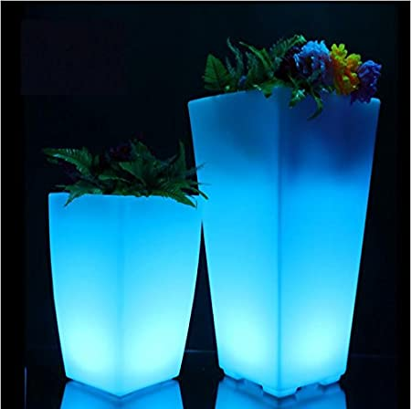 Led Luminous Square Plastic Flower Pots Of Colorful Pots Led Plastic