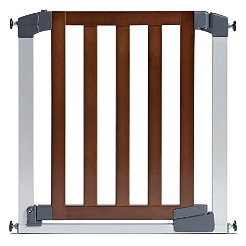 Munchkin Auto Close Designer Baby Gate, Dark Wood/Silver - Access Steel Ladder