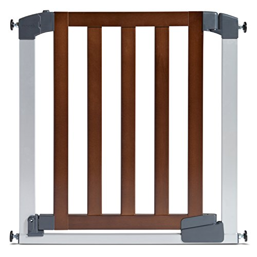 Munchkin Auto Close Designer Baby Gate, Dark Wood/Silver (Gate Door With Munchkin Baby)