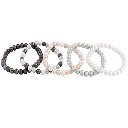 Bracelet Bella Pearls Set of 5Multi–Coloured Freshwater Pearl Elastic Bracelet of Length 18cm [parallel import goods] ()