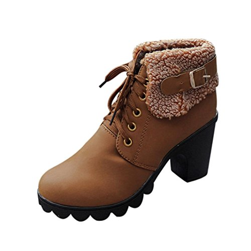 Winter Ankle Brown up Boots Lace Heels High Shoes Inkach Martin Women Warm Shoes Plush xtwqUn56