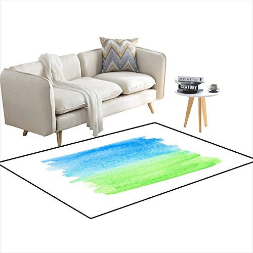 - Area Rugs for Bedroom Blue Green Watercolor Gradient Splash 4'x20'