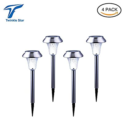 Twinkle Star Premium Stainless Steel Solar Garden Led Lights,solar pathway lights landscape lights,automatic led lights For Outdoor Path Patio Yard Deck Driveway,No Affect in All-Weather (4pack)
