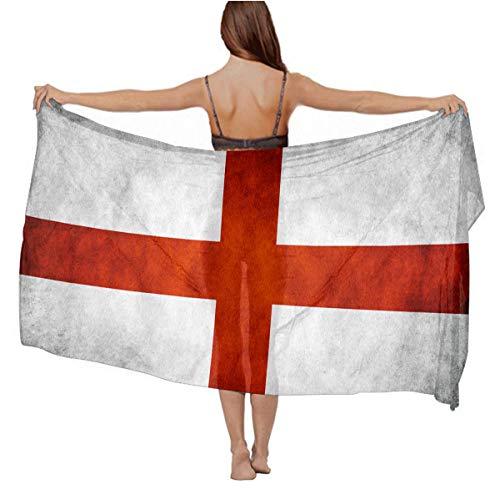 Spring Summer Stylish Long Scarf Beach Wrap Dress, Women Swimwear Cover Up Shawl Bikini Wrap (Vintage St George's Cross England Flag)