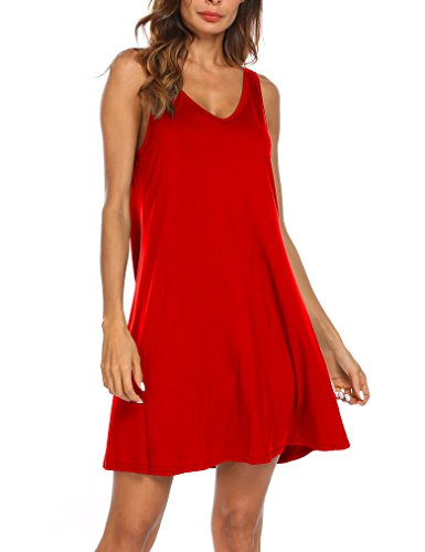 Tobrief Women's V Back Sleeveless V Neck Casual Swing Tunic T-Shirt Dress (M, (M&m Red Tank Dress)