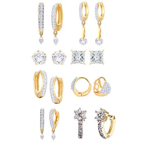 Zeneme White Ad American DiamondCombo of 8 Drop Earrings Jewellery For Women & Girls