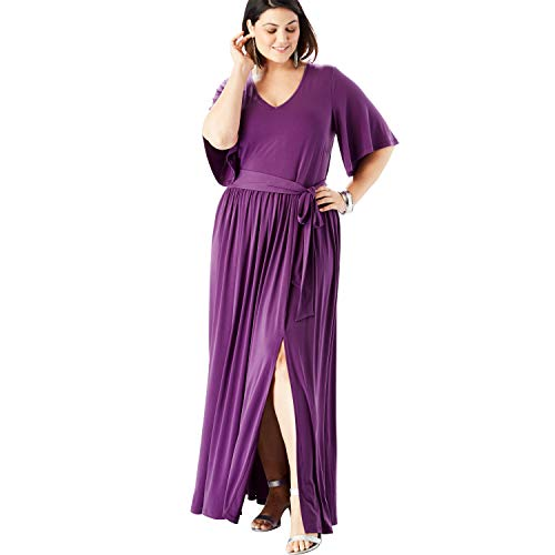 Roamans Women's Plus Size Belted Maxi Dress with Flutter Sleeves - Plum Purple, 22/24