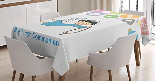 Table Linen Communion Cover - Cotton Linen Tablecloth Boy First Communion Writing Sign Grapes Chalice Bread Candle Fish Wings Artwork Table Cover for Kitchen Dinning Tabletop Decoration 60X120inch