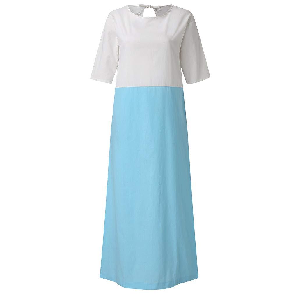 Womens Color Block T-Shirt Dress Plus Size Cotton Linen Summer Beach Sundress Ladies Crew Neck Loose Patchwork Half Sleeve Casual Long Maxi Dresses with Pockets