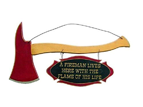 OH Wholesale Fireman Lives Here Red 16 x 8 Wood Decorative -