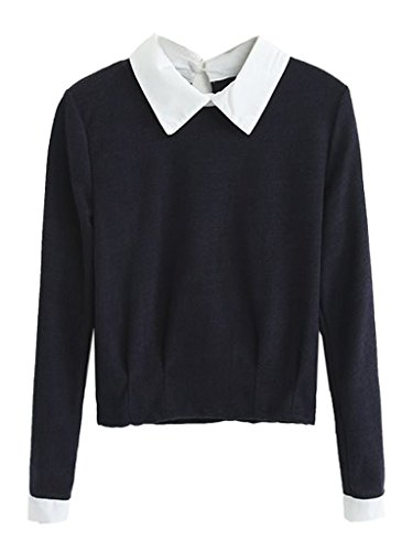 Persun Sleeve Pullover Blouse Contrast