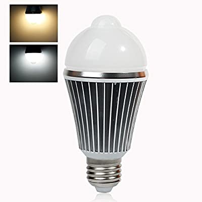 eSavebulbs E27 LED Motion Sensor Light Day White 7W Infrared Motion Detection Light Bulbs Auto Switch Stairs Night Light from eSaveBulbs